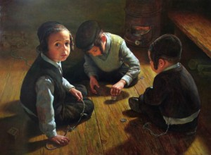Niños jugando con un Sevivon. Cuento Judio Janucah